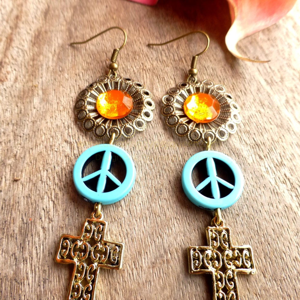 Turquoise Peace and gold cross Chandlier Earrings - Designed & Created by Patrice - DazzlingGypsyQueen.com