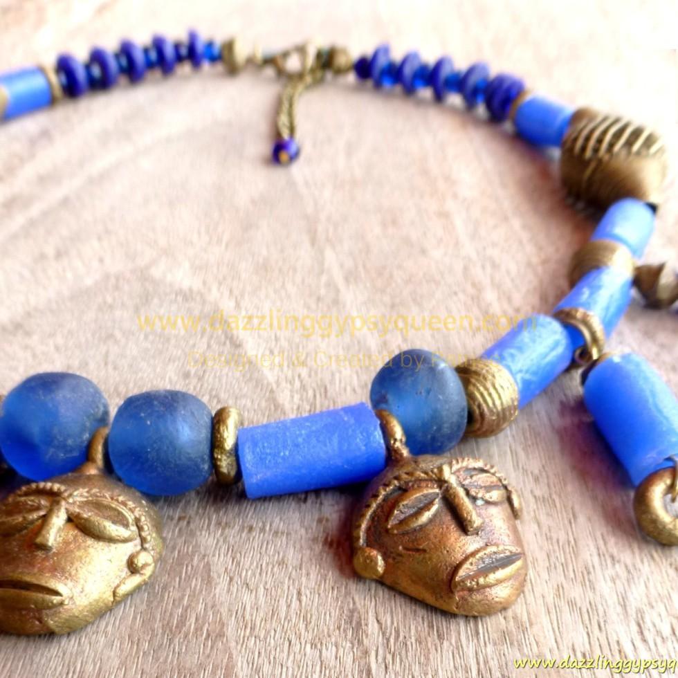 African brass mask necklace in Kobalt Blue & brass - HEAT OF THE NIGHT