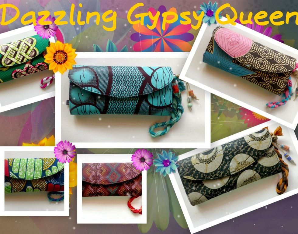 African Wax fabric Clutches by Hot Bags by DazzlingGypsyQueen
