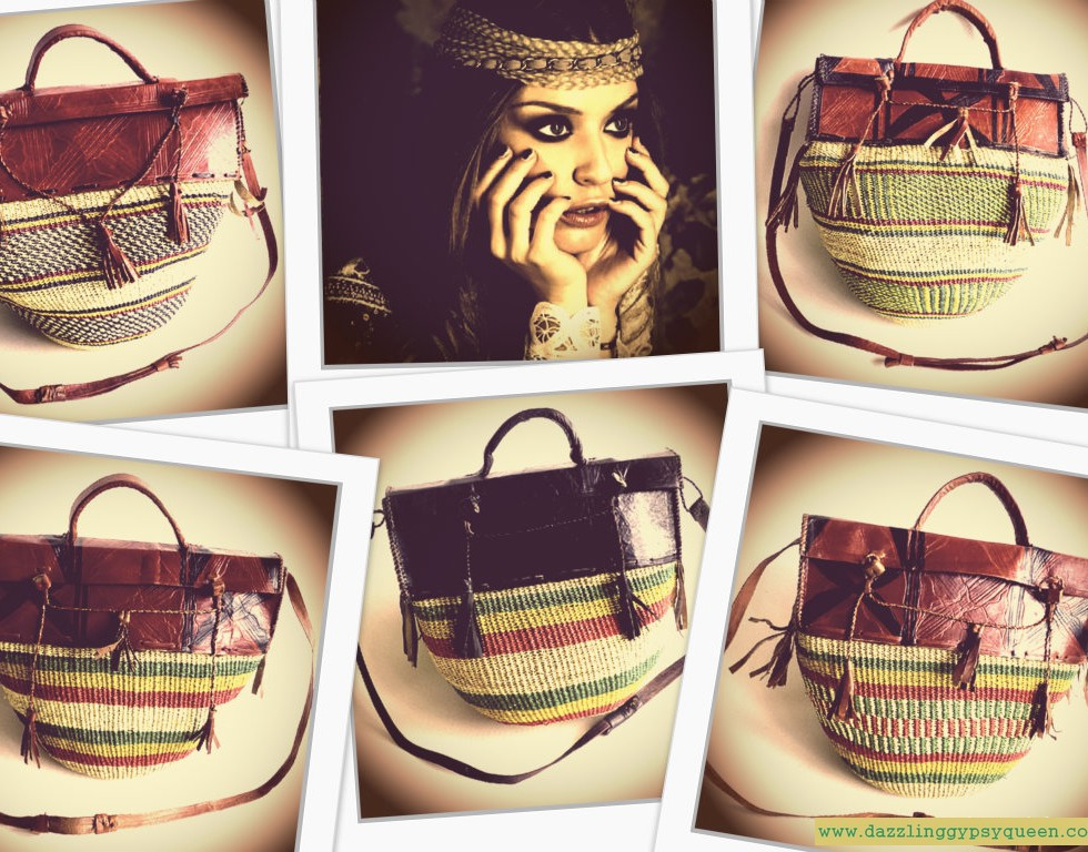 Gypsy Boho leather straw bag by DazzlingGypsyQueen