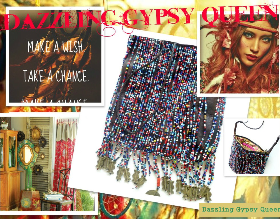Leather fringe bead bag - DazzlingGypsy Queen