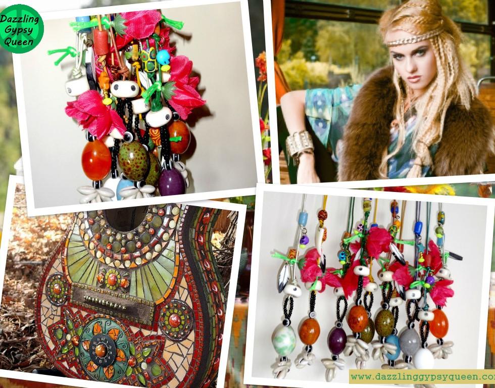 Gypsy Boho Leather flower necklace by DazzlingGypsyQueen