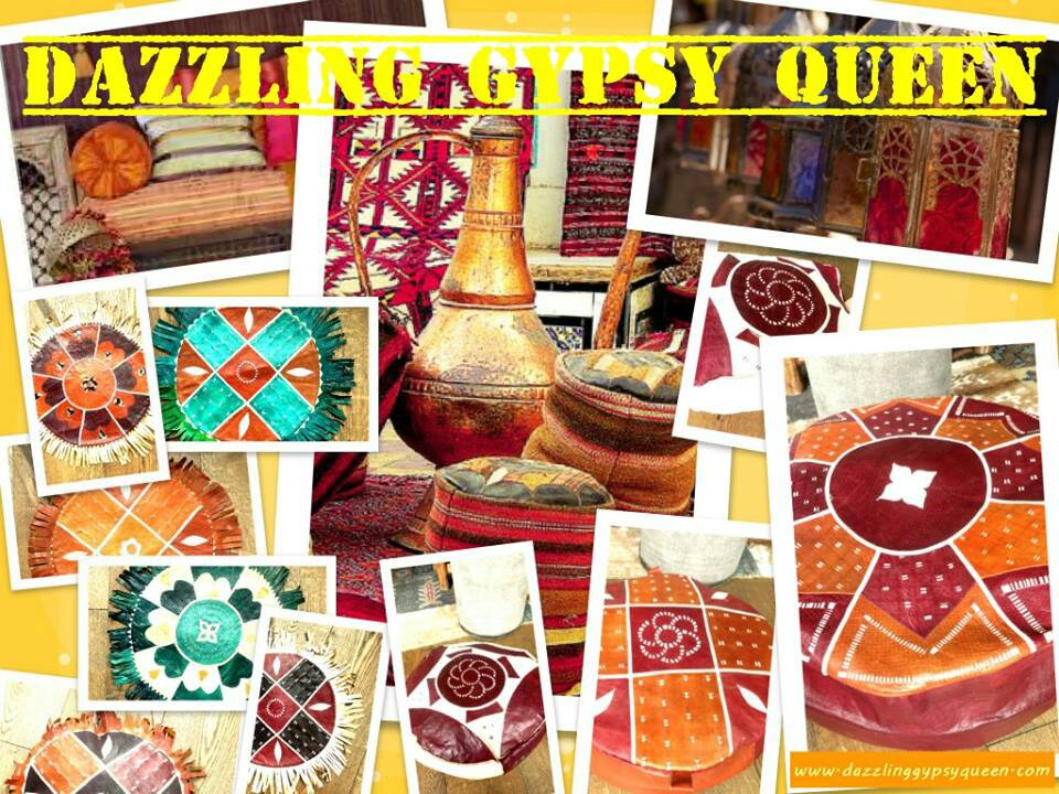 Leather Gypsy cushions and poufs in Boho living by Dazzling Gypsy Queen