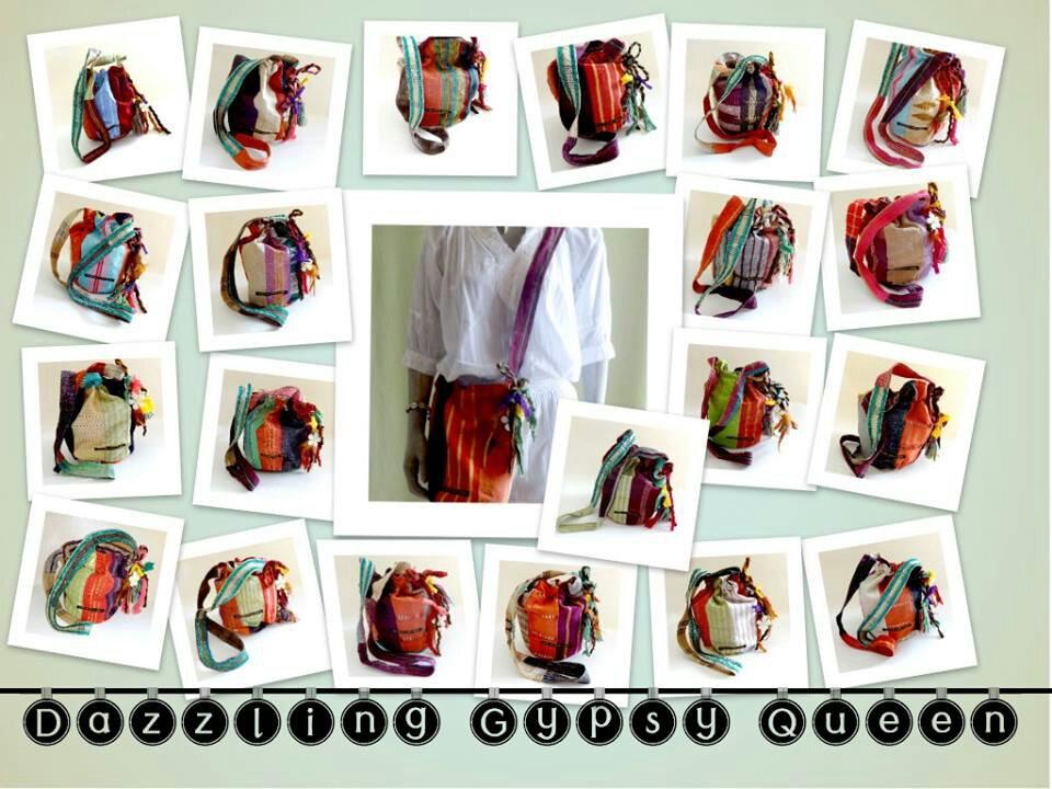 Vintage drawstringbags in Mochilla Wayuu style @ Dazzling Gypsy Queen