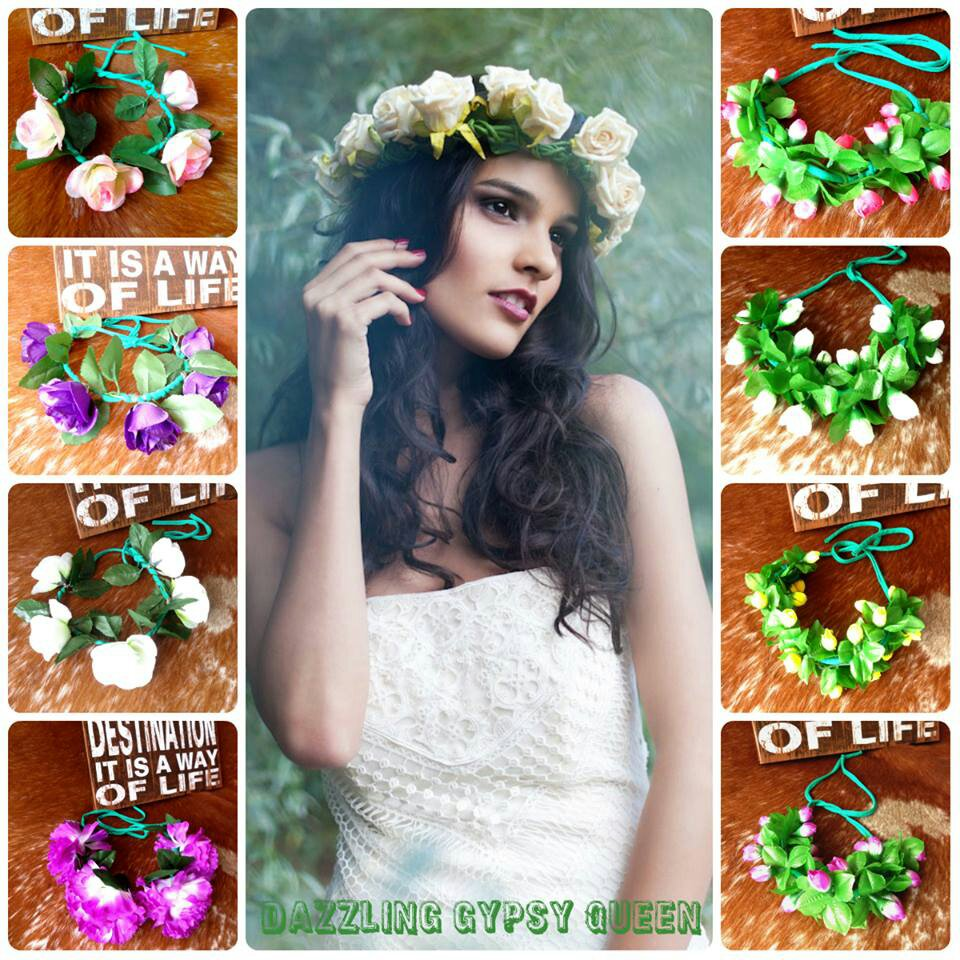 Hippie Ibiza flower crown, bloemen krans by DGQ