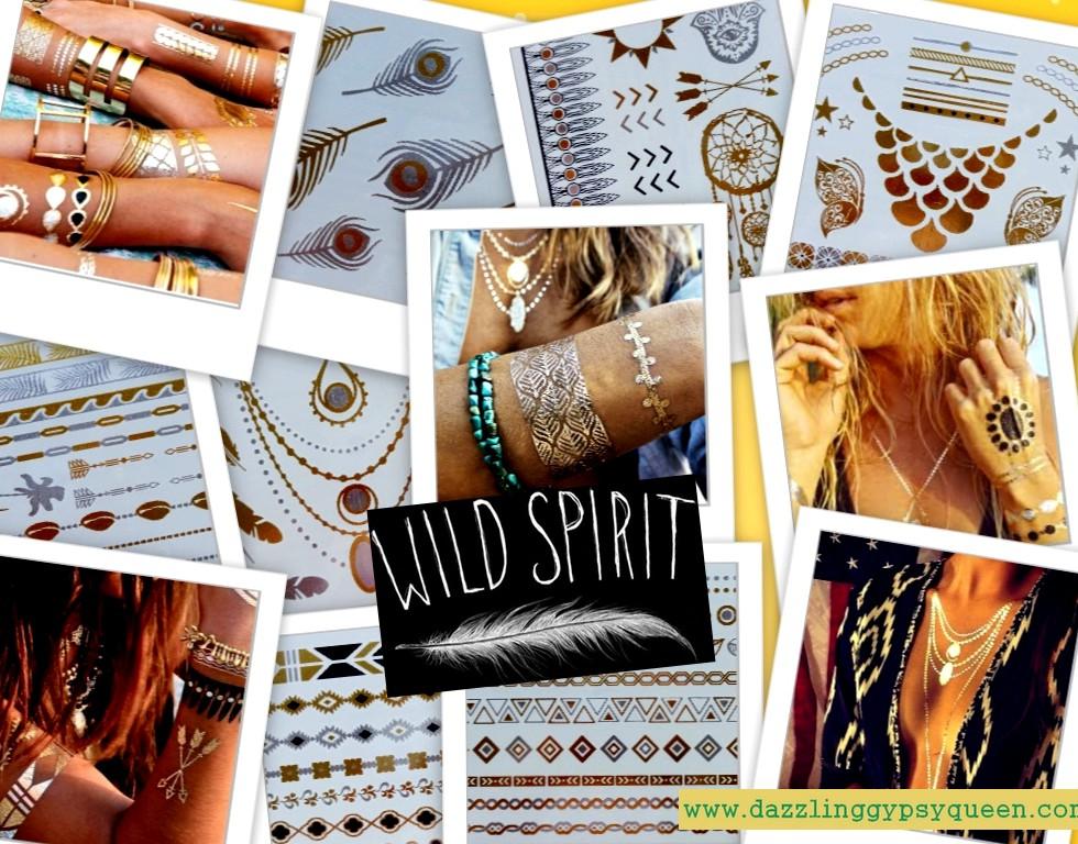 Flash tattoo - gold - silver - black - metallic - Dazzling Gypsy Queen