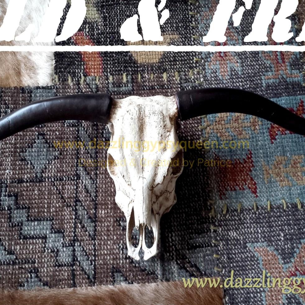 Buffel schedel - skull voor aan de muur @ Dazzling Gypsy Queen for Boho Living