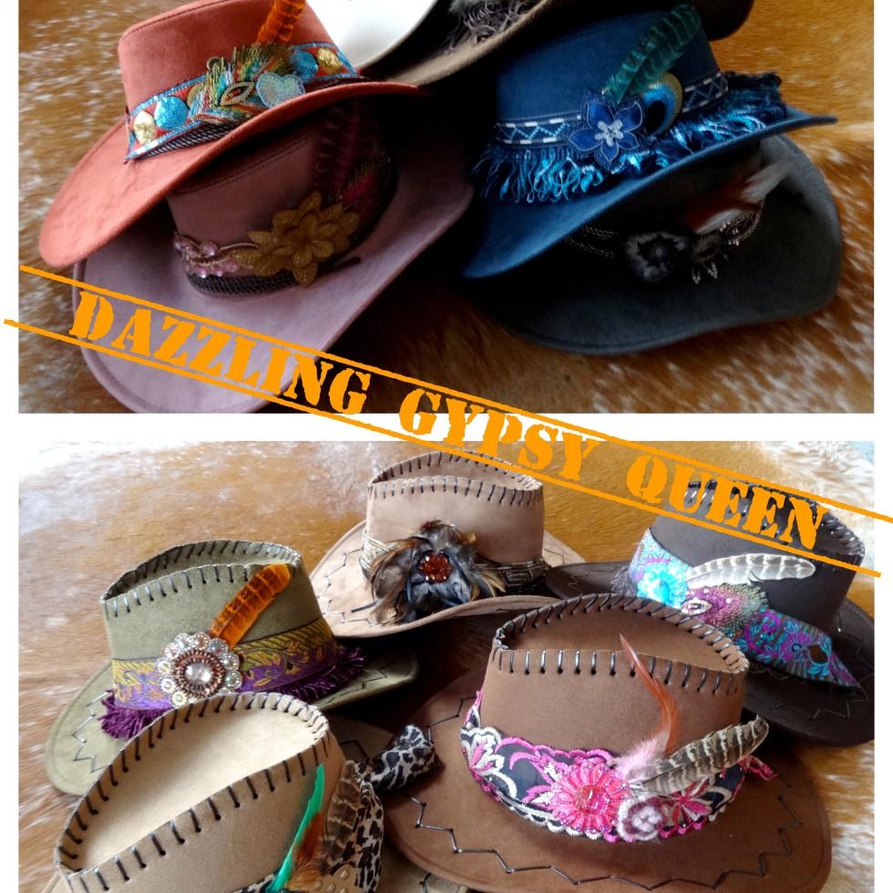 Gypsy Ibiza faux suede Cowboy Hats - suedine hoeden - by Dazzling Gypsy Queen