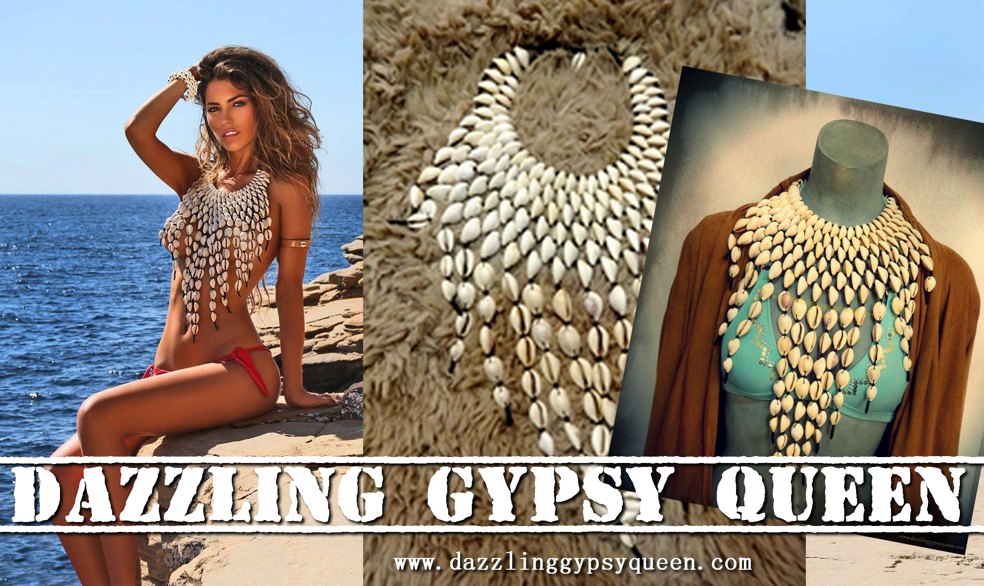 Native Gypsy Cowrie necklace by Dazzling Gypsy Queen and worn by Yolanthe Cabau