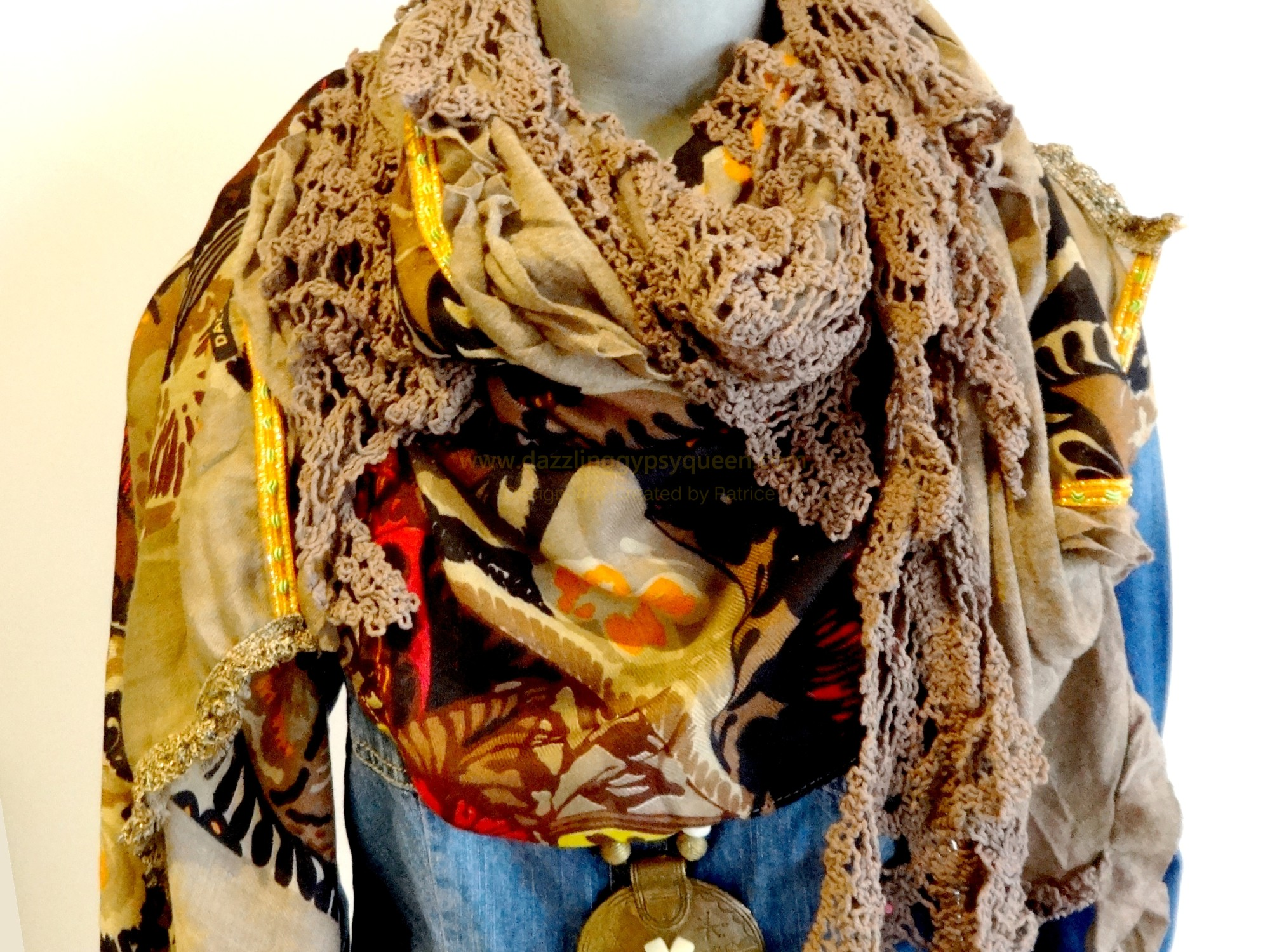 Gypsy Ibiza Sjaal groot Oranje - by Dazzling Gypsy Queen