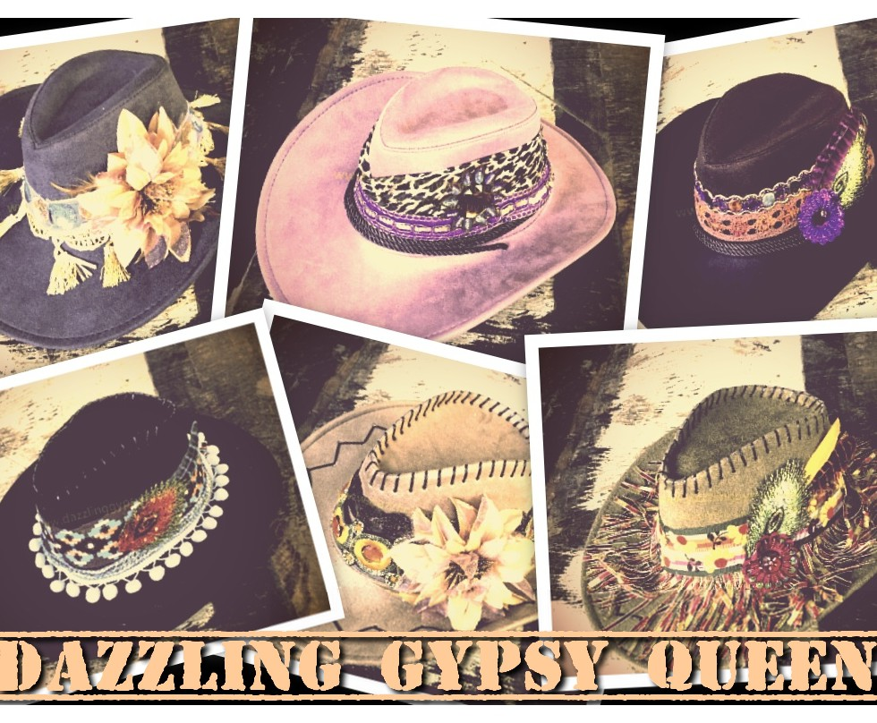 Gypsy Ibiza faux suede Cowboy Hat - suedine hoed- by Dazzling Gypsy Queen
