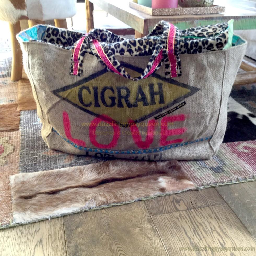 Beach bag Jute - Love - by Dazzling Gypsy Queen