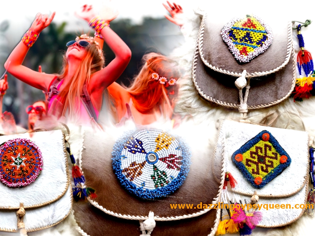 Festival fur bag with vintage Kuchi beaded patch by Dazzling Gypsy Queen
