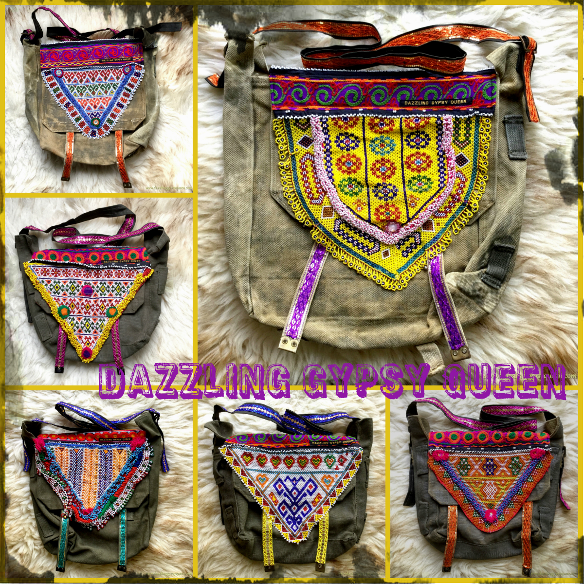Vintage army bag with unique Kuchi Tribal beaded patch - by Dazzling Gypsy Queen