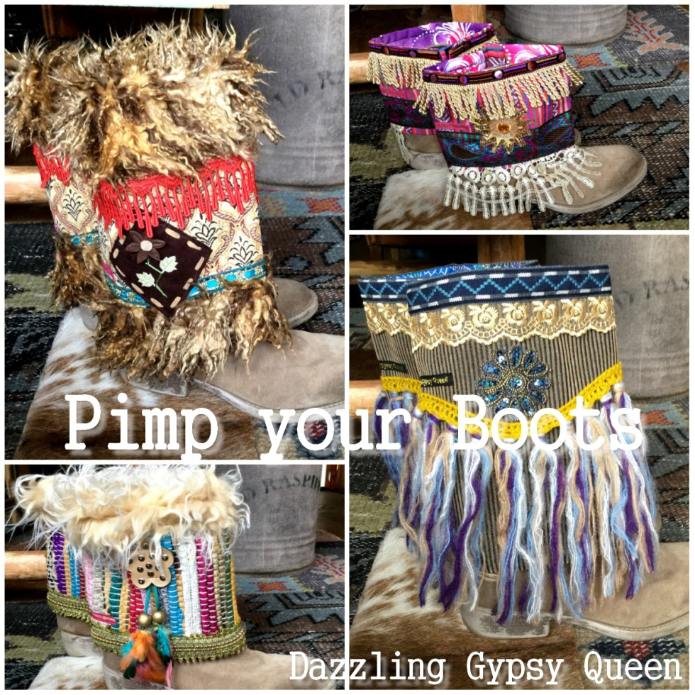 Gypsy boho Bootbelts bont - fur snowboots - bootcovers by Dazzling Gypsy Queen